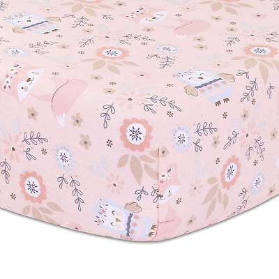Woodland Friends Owls and Foxes Baby Girl Fitted Crib Sheet - Dusty Rose Pink