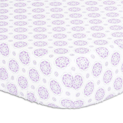 Purple Lilac Medallion Fitted Crib Sheet by The Peanut Shell