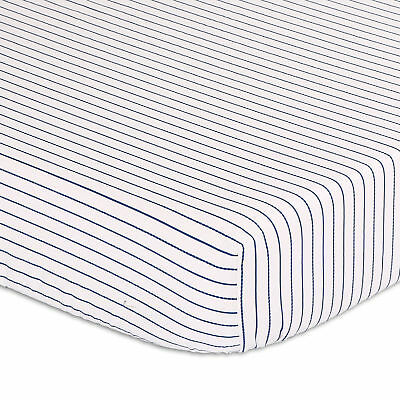 Navy Blue Striped Fitted Crib Sheet by The Peanut Shell