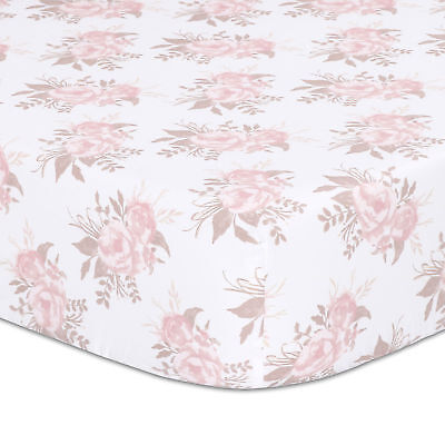 Grace Floral Fitted Crib Sheet - Pink and Dusty Grey Watercolor - 100% Cotton
