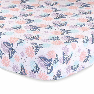 Wildflower Butterfly and Flowers Baby Fitted Crib Sheet - Purple, Coral, Aqua