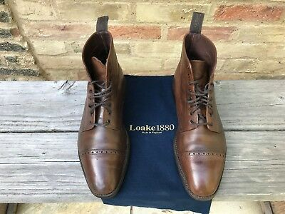 66bed211aab LOAKE HYDE BROWN Polished Leather Boots Shoes UK Size 7.5
