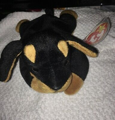 "Retired TY Beanie Babies ""DOBY"" Doberman Black & Brown Dog 1996 - Tag Protector"