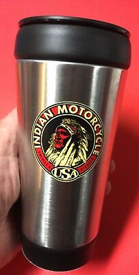 Indian Motorcycle Motif Thermo Mug ~ Stainless ~ Hot/Cold 14oz ~ PRISTINE!