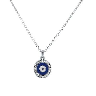 Lux Accessories Silvertone Blue Evil Eye Protection Charm Delicate Necklace