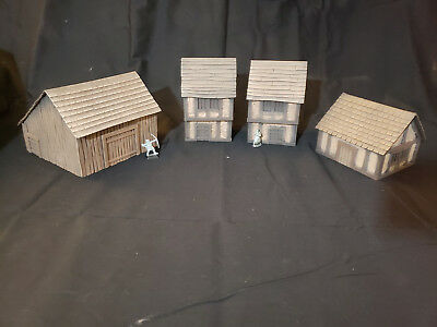 WARGAME TERRAIN SCENERY 28mm 4 Building Lot Scratch built for D&D RPG  WarHammer