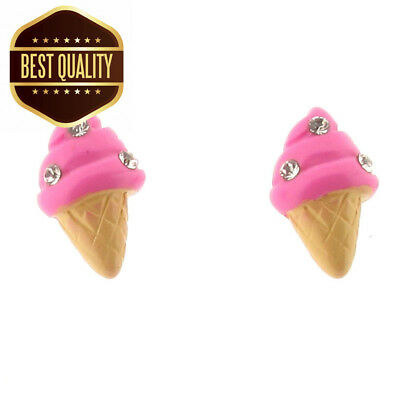Touch Jewellery Sterling Silver Ice-Cream Stud Earrings with Crystals - Post...