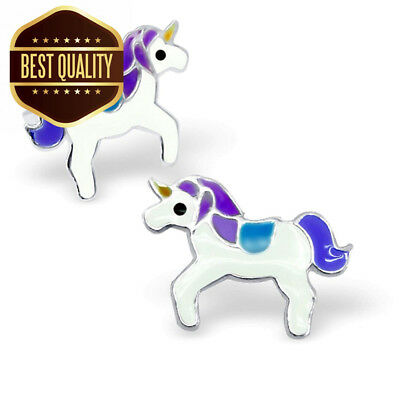 Pair of Purple and White Unicorn Sterling Silver Stud Earrings