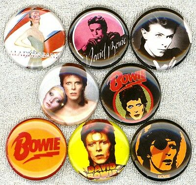 David Bowie x 8 NEW pins buttons badges ziggy stardust pin ups changes heroes