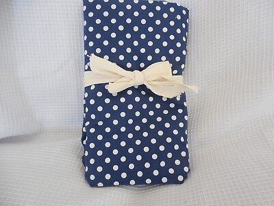 Pottery Barn Baby Organic Navy White Dots Crib Toddler Bed Fitted Sheet NWOT