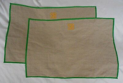 "Mark and Graham Linen Placements Set/2 ""SB"" NWOT"