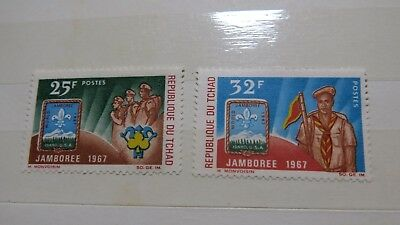 1967 Republic of Tchad Scouts Movement Jamboree '67 Set of 2 Stamps MUH