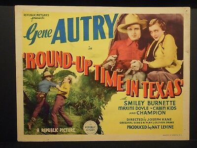 Gene Autry Round-Up Time In Texas 1937 Title Lobby Card VG/Fine Western