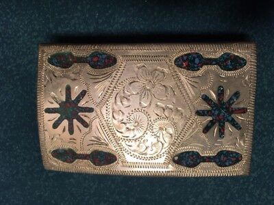 HANDMADE Mexican Silver Turquoise Chip Belt Buckle  Stamped ALPACA MEXICO