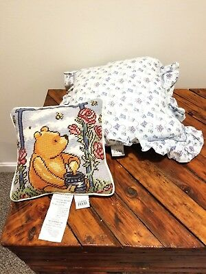 Classic pooh throw pillows (2) small tapestry and blue butterfly