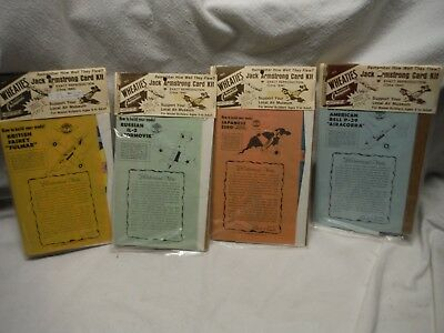 Lot Of 4 Vintage Wheaties Jack Armstrong 1944 Paper Airplane Card Kits Sealed