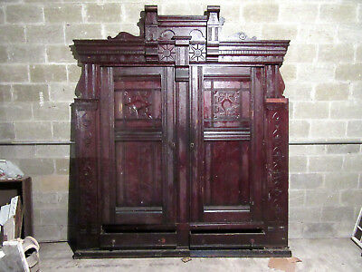 ~ Unique Carved Walnut Closet Front~ Built In Armoire~ 90 X 103 ~ Salvage