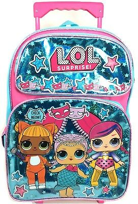 "LOL Surprise!""Glitterati"" Shiny Hot Blue Large 16 Girls' Rolling School Backpack"