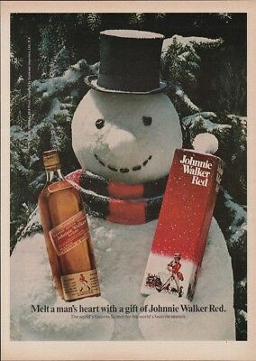 1974 Snowman Johnnie Walker Red Label Scotch Christmas Box Photo Print Ad