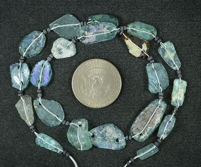 Ancient Roman Glass Beads 1 Medium Strand Aqua And Green 100 -200 Bc 937