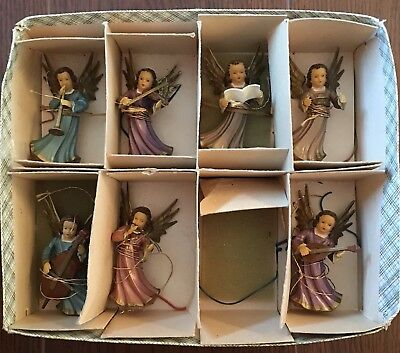 Vintage Set of 7 Miniature Plastic Angel Musicians Christmas Ornaments W Germany
