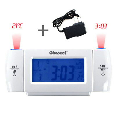 US Projection Alarm Clock LCD Digital Snooze Time Alarm Clock Projector Weather