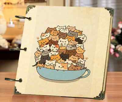 DIY 30 Black Pages 18x18cm Cat Kitten Kraft Cover 3-ring Photo Album Scrapbook
