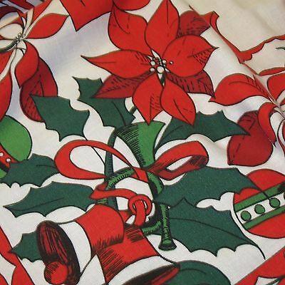 Vintage Christmas Holiday TABLECLOTH by Stevens Retro pattern 52 X 64 Bells