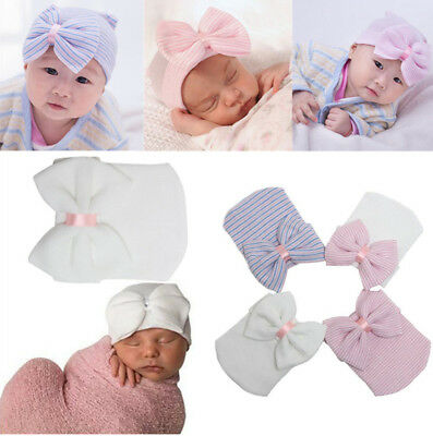 Infant Girl Newborn Baby Bowknot Stripe Soft  Beanie Toddler New Hat Hospital