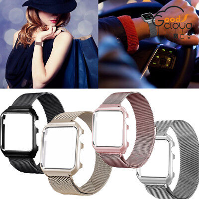 Milanese Magnetic Stainless Steel Strap iWatch Band + Case Cover For Apple Watch