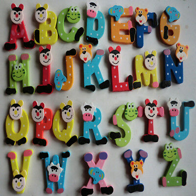 Cute 26pcs Wooden Cartoon Alphabet A-Z Magnets Educational Toy For Kids Baby