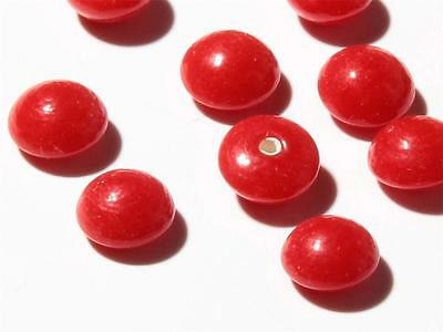 (24) 7mm Czech vintage antique half drilled domed red glass beads headpin beads