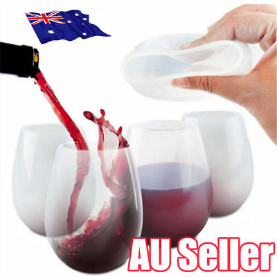 White Unbreakable Silicone Cup Wine Glass Stemless Beer Whiskey Collapsible OD