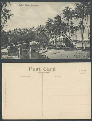 Singapore Old Postcard Kallang River Scene, Bridge Palm Trees Boats Canoes Birds
