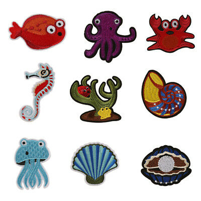 Sea Animal Embroidery Sew Iron On Patch Badge Bag Clothes Fabric Applique Patc I