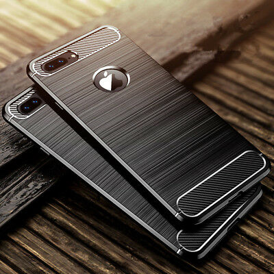 For iPhone 6s 6 7 Plus 5 SE Shockproof Carbon Fiber Soft TPU Rubber Cover Case