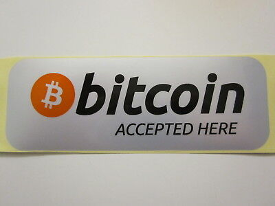 """Waterproof High Quality """"Bitcoin Accepted Here"""" Sticker Shop Decals - BTC"""
