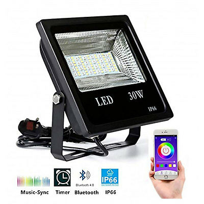 30W Smart RGB LED Flood Light Bluetooth Multi Function IP66 Security APP Control