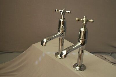 Old Chrome Pillar Taps Belfast Kitchen Sink Large Taps Reclaimed Fully Refurbed