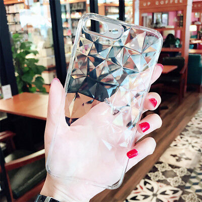 For iPhone 7 Plus X 8 6 Slim Clear Case Cover ShockProof Diamond Pattern Rubber