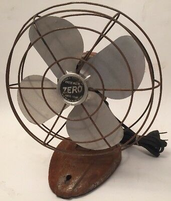 Vintage ZERO METAL FAN ELECTRIC BERSTED Model 1250R Wall Mount or Table WORKS