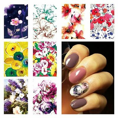 A FIORI pellicola unghie Stickers FLOWERS water nail art decals PATCH POLISH GEL