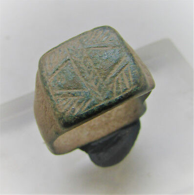 Byzantine Era Bronze Signet Ring With Decorated Bezel