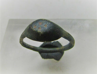Circa 600-700Ad Byzantine Era Bronze Crusaders Signet Ring W/ Cross Motif