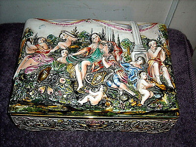"Large Capodimonte Footed Dresser Box 11"" Ornate"