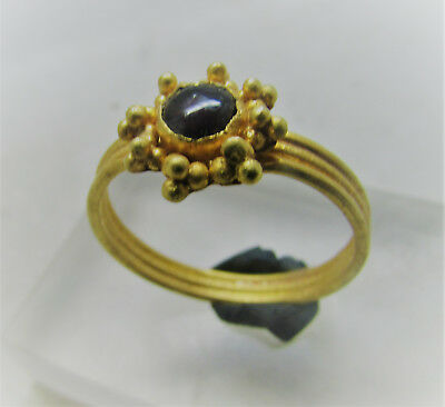 Early Medieval Europe - Ladies Gold Ring W/ Garnet And Floral Bezel - Beautiful