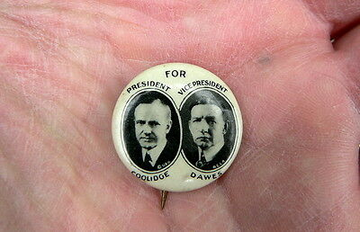 Coolidge Dawes Presidential Campaign Celluloid Photo Button pin Jugate