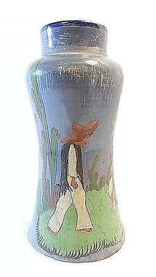 "Antique/Vintage 30'S To 40'S Mexico Folk Art Pottery Tlaquepaque 9""  Vase"
