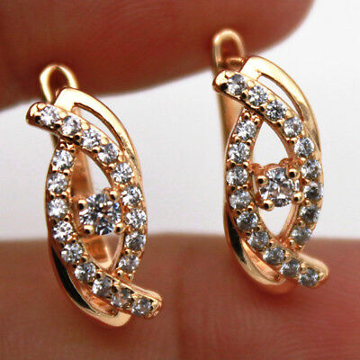 18K Gold Filled - Clear Zircon Cat Eye Hollow Gems Pageant Women Hoop Earrings