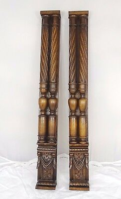 "24""French Antique Solid Walnut Posts-Pillars-Columns-Balusters Renaissance Style"